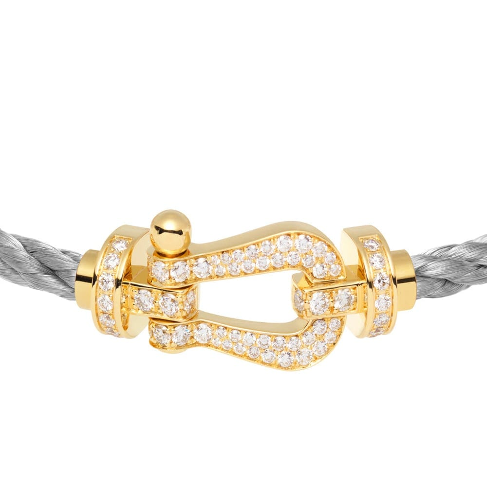 Fred Force 10 bracelet in yellow gold and paved white diamonds  - Bijuterii excepționale: brățara Fred, colecția Force 10, din aur galben și diamante albe