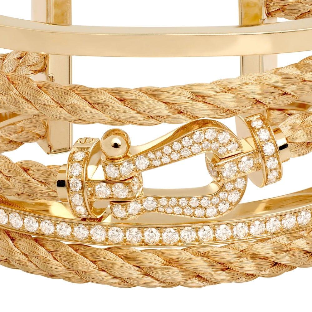 Fred Force 10 cuff  - Bijuterii excepționale: brățara Fred, colecția Force 10, din aur galben și diamante albe