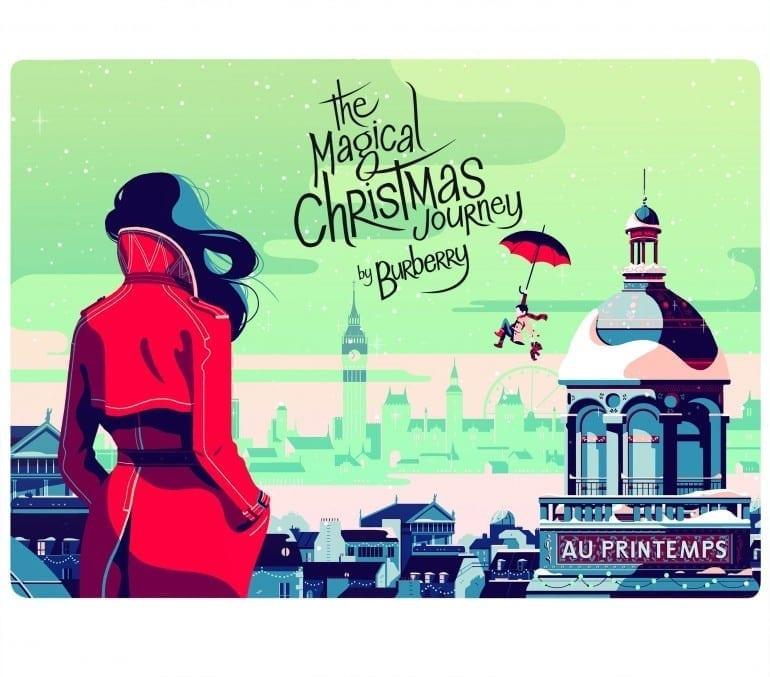 Printemps Magical Christmas Journey illustration 770x677 - Crăciunul, o călătorie magică cu Burberry şi Printemps