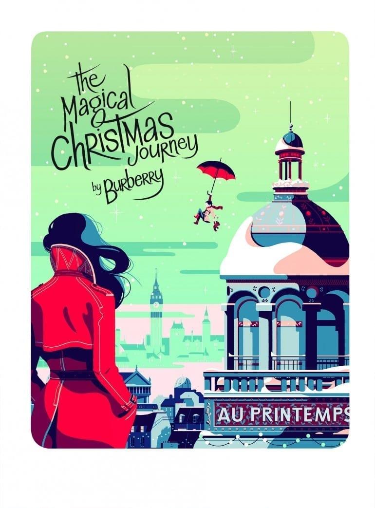 The Magical Christmas Journey illustration UK 770x1043 - Crăciunul, o călătorie magică cu Burberry şi Printemps