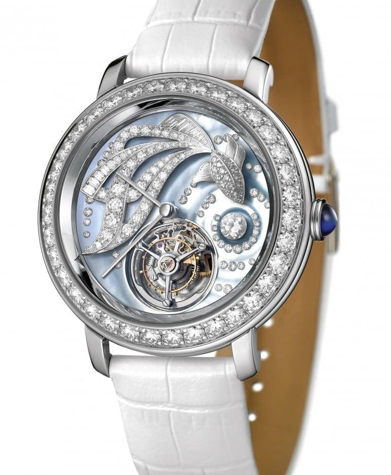 Epure Tourbillon Ama white gold diamonds baguettes mother of pearl dial white alligator strap Tourbillon e1437571680816 770x935 - Boucheron - Epure Tourbillon Ama