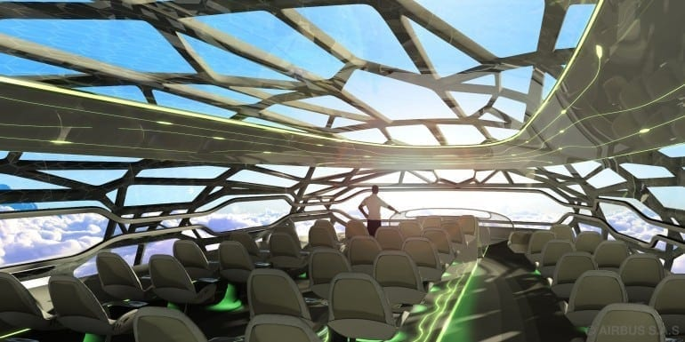 The future by Airbus   Vitalising Zone  Panoramic Day 770x385 - Un pas în viitor - Airbus Concept Plane