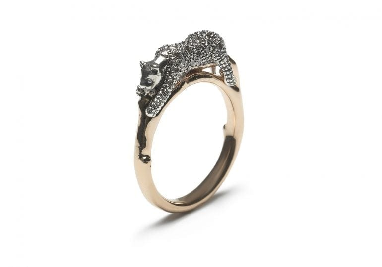 Animal Collection Leopard ring, 18ct rosé gold, sterling silver and brown diamonds
