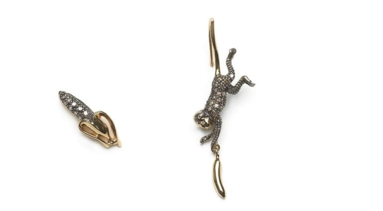 Monkey Collection, Monkey and banana studs, 18ct yellow gold, sterling silver, brown diamonds