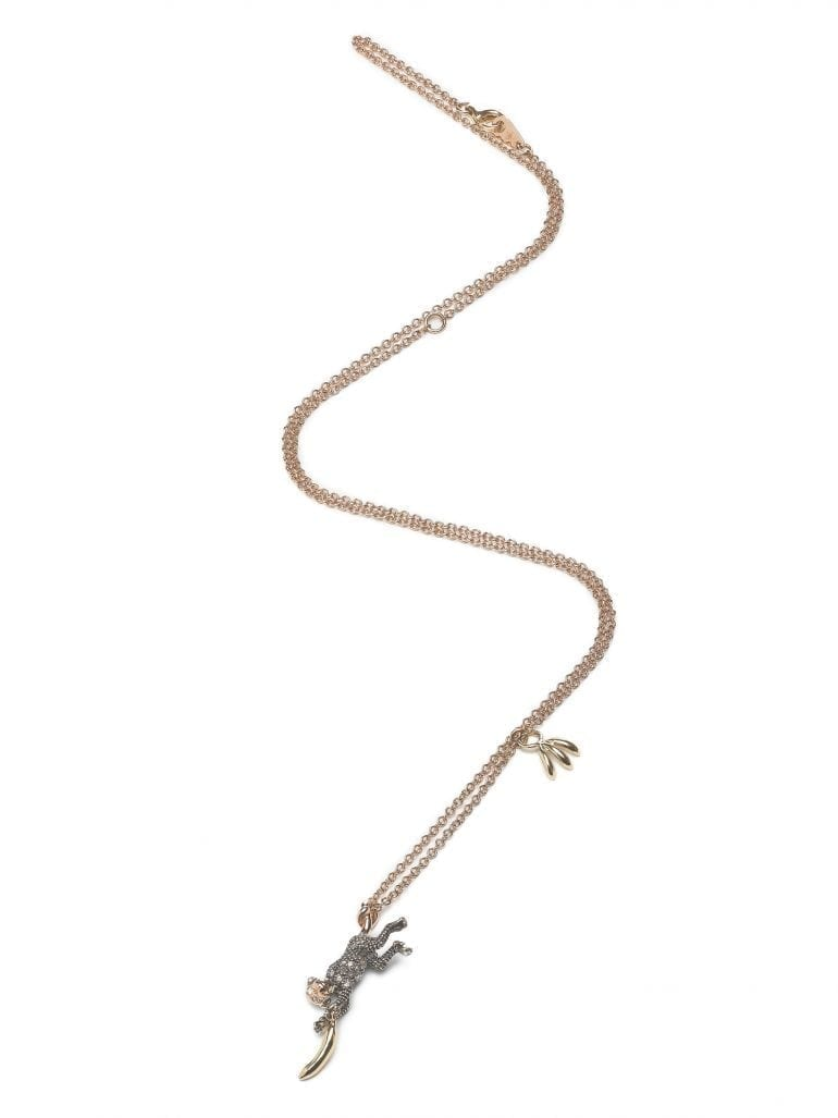 Monkey Collection Monkey banana necklace 18ct yellow gold 18ct rosé gold brown diamonds Sterling silver  770x1027 - Bibi van der Velden – Bijuterii ce transcend lumea modei