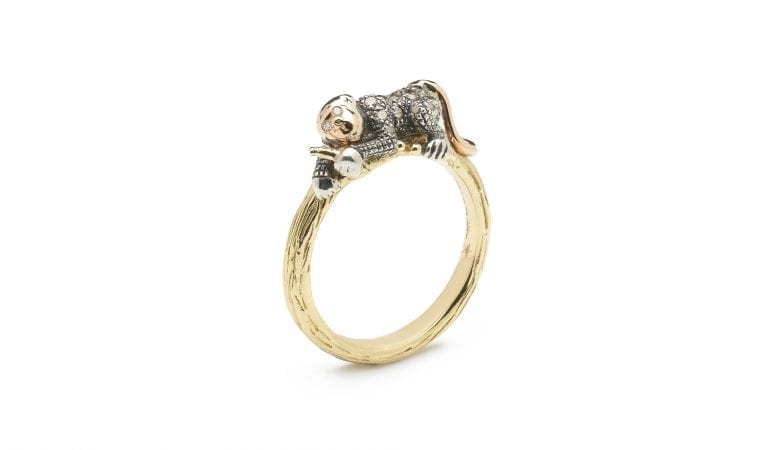 Monkey Collection, Stackable monkey ring, 18ct yellow gold, Sterling silver, brown diamonds