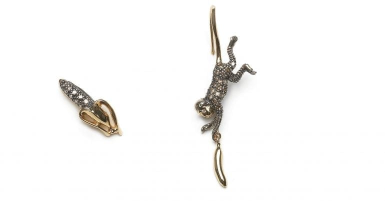 monkey-collection-monkey-and-banana-studs-18ct-yellow-gold-sterling-silver-brown-diamonds