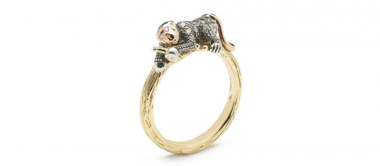 monkey-collection-stackable-monkey-ring-18ct-yellow-gold-sterling-silver-brown-diamonds