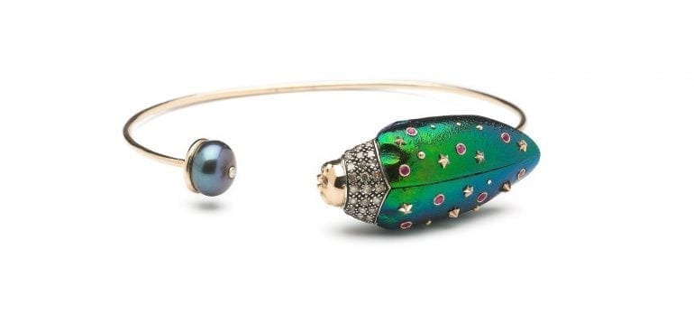 scarab-collection-scarab-bangle-18-yellow-gold-sterlings-silver-brown-diamonds-pink-sapphire-scarab-wings-thahitian-pearl