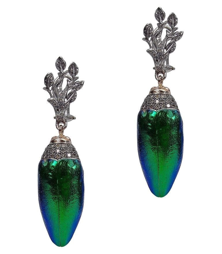 scarab-collection-scarab-earrings-925-silver-18ct-yellow-gold-brown-diamonds-scarab-wing-front-view