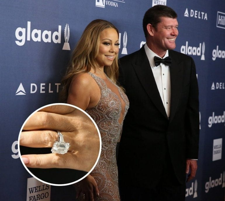 mariah carey and billionaire james packer recently broke the record with a whopping 35 carat emerald cut diamond 770x688 - Cele mai scumpe inele de logodnă din toate timpurile