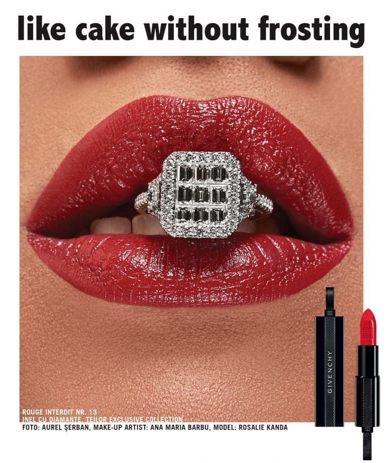 Lips without lipstick are  like cake without frosting, Rouge Interdit Nr. 13 Inel cu diamante, Teilor Exclusive Collection