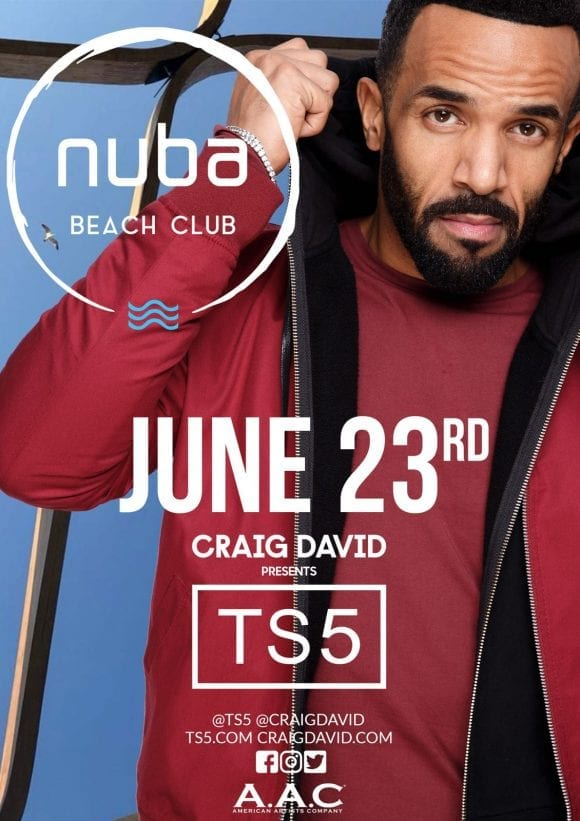 Craig David la NUBA Beach Club, pe 23 Iunie 2018!