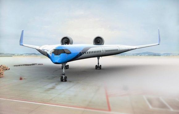 Concept futurist al KLM: Avion de pasageri cu design în formă de V