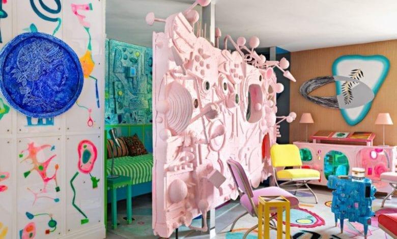 Designerul Doug Meyer a ales interioare creative cu trimitere la instalații de artă în propria locuință