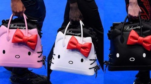 Balenciaga semnează o colecție de genți Hello Kitty pentru bărbați