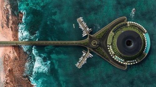 Acest hotel plutitor din Qatar se rotește la 360 de grade pentru a-și genera propria electricitate
